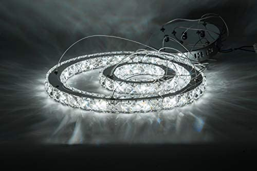 KAI Crystal Chandelier Island Pendant Light Contemporary Not Dimmable LED Lamp with 6000K 36W 4320LM Adjustable Height Chrome 2 Rings Modern Flush Mount Ceiling Lighting for Dining Room Lobby,1 Pack