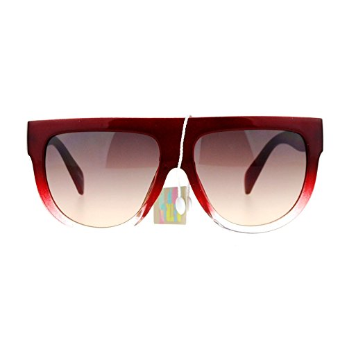 SA106 Flat Top Mob Plastic Aviator Womens Sunglasses - Sunglasses Burgundy