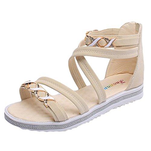 Sentao Sandalias para Mujer Zapatos de la playa de Bohemia del Verano Zapatillas Beige