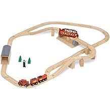 Melissa & Doug Swivel Bridge Wooden Train Set (47 pcs)