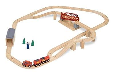 Amazon.com: Melissa & Doug Swivel Bridge Wooden Train Set (47 pcs ...