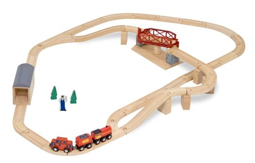 Melissa & Doug Swivel Bridge Wooden Train Set (47 pcs) Bridge Position