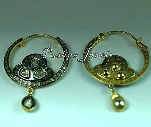 Victorian Style 2. 50cts Rose cut Diamond Sterling Silver Hoops Bali Earrings Bali Style Diamond Earring