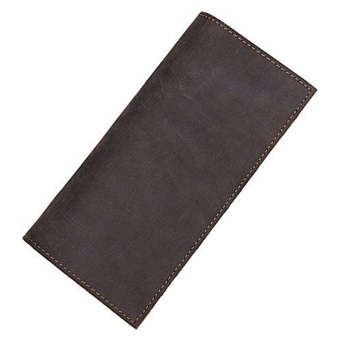 Itslife Men Vintage Look Genuine Leather Long Bifold Wallet (Coffee RFID BLOCKING 1740)