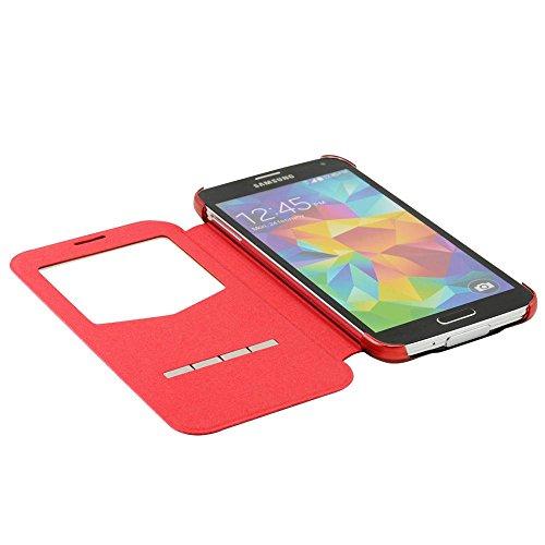 N48- Rot Flip Cover mit Sichtfernster für Samsung Galaxy S5 G900 i9600 Schutzhülle Smart Touch Hülle Smartphone Schale Handytasche Etui Case