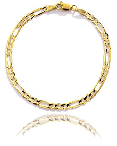 7 Inch 10k Yellow Gold Solid Italian Figaro Chain Bracelet for Women and Men, 0.16 Inch (4mm) by SL Chain Collection