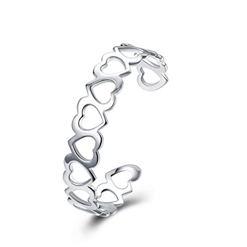 SUNGULF Sterling Silver Plated Open End Heart Cuff Bracelet Bangle for Women Teen Girls - Open Heart Cuff