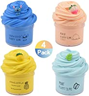 4 Pack Fluffy Butter Slime Kit with Blue Stitch, Peach, Pineapple and Mint Charms, Scented DIY Slime Supplies for Girls and