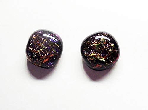 Dichroic Mardi Gras Handcrafted Fused Glass Studs 11mm Rounded Square Earrings A9