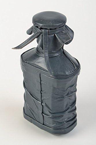Botella decorativa forrada en cuero con hebilla hecha a mano ...