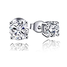 Stud Earrings for Women-YL Sterling Silver Stud Earrings with White Gold Plated-Cubic Zirconia CZ Stud Earrings Hypoallergenic-Earring for Girls Men 3mm 4mm 5mm 6.5mm