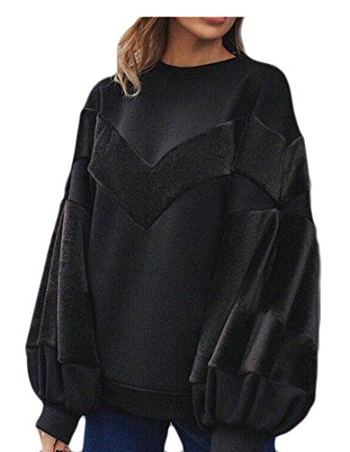 fan products of Generic Women's Basic Warm Crew-Neck Color Block Cotton Sweatshirt Tops Black M