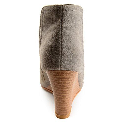 Brinley Co Womens Faux Suede Laser Cut Open-Toe Wedges Grey H9UyeO