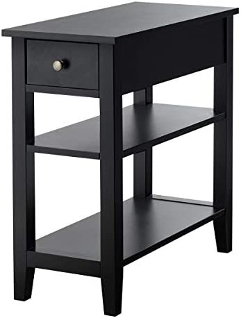 Giantex 3-Tier End Table with Drawer slideway and Double Shelves Narrow Tiered Side Table for Bedroom, Living Room Home & Office Telephone Table Nightstand (1, Black)