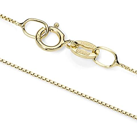 14K Solid Yellow Gold Box Link Chain Necklace (.60mm) - 16 inch Length (14k Yellow Gold Box Chain 16 Inch)