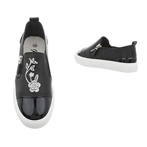 Design Plano Mujer Ital Zapatos Negro An1900 Zapatillas Para Bajas Zapatillas Od7dqX