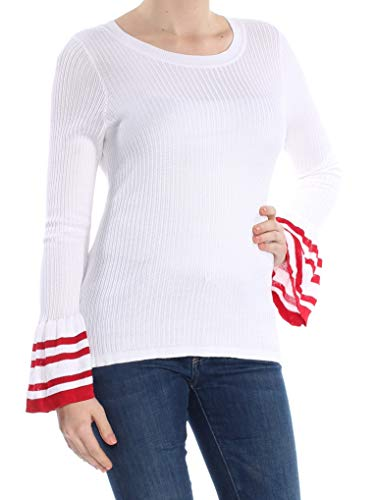 INC International Concepts Striped Bell-Sleeve Sweater (Bright White, M) from INC International Concepts