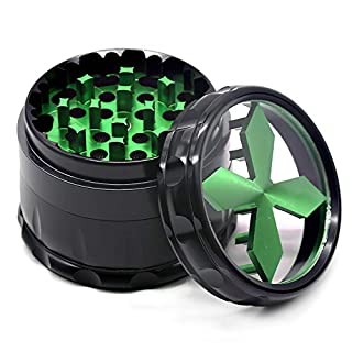 SK Depot Quality Aluminium Herb Grinder 2.5'' Large 4-Part Spice Grinder with Pollen Screen (Green)