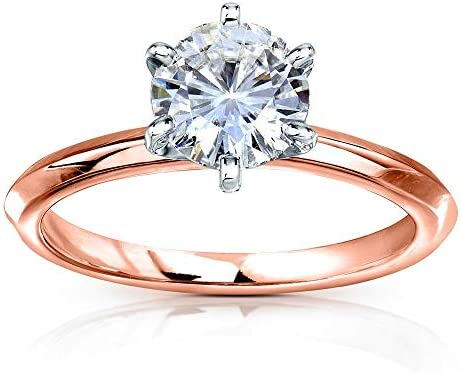 Kobelli Classic Solitaire Round Brilliant Moissanite Engagement Ring 1 Carat 14k Rose Gold (FG, VS)
