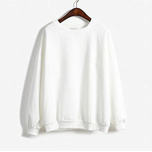 KINDOYO Women Casual Plain Hoodies Long Sleeve Sweatshirt Pullover - White (Plain White Sweatshirt)