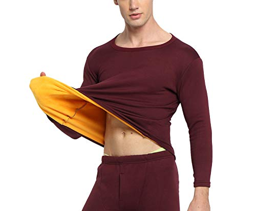 Thermal Underwear Men Winter Women Long Johns Sets Fleece Keep Warm in Cold Weather Size M to 4XL,Wine Red,XXL (Pants Womens Polypro)