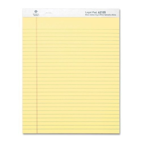 UPC 035255631051, Business Source Ruled Legal Pad - 8.5 x 11 Inches - Pack of 12 Pads of 50 Sheets - Canary (63105)