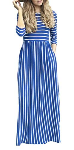 Stripe Dress Neck Casual 3 Women Maxi Pockets Stylish 4 Blue Domple Sleeve Round EqFPgg1