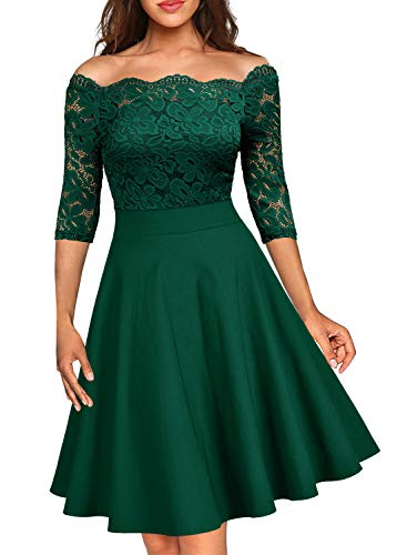 MISSMAY Women's Vintage Floral Lace Half Sleeve Boat Neck Cocktail Formal Swing Dress D-Green