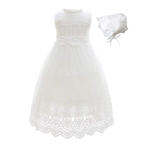 Slowera Baby Girls White Lace Dress Christening Baptism Gowns and Bonnet (Style2, 0-6 Months)]()