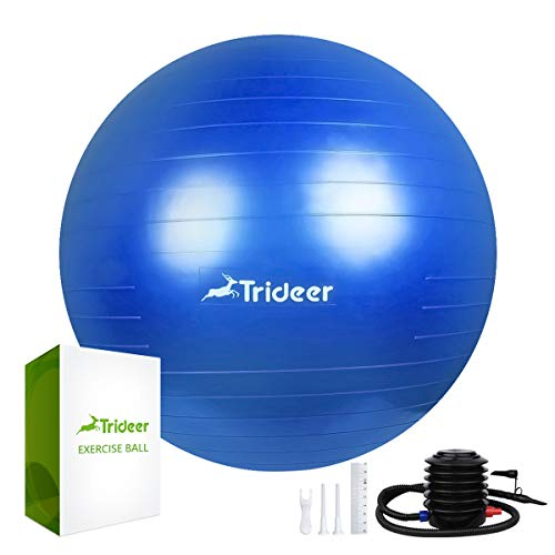 (Trideer Exercise Ball (45-85cm) Extra Thick Yoga Ball Chair, Anti-Burst Heavy Duty Stability Ball Supports 2200lbs, Birthing Ball with Quick Pump (Office & Home & Gym) (Royal Blue, 65cm))