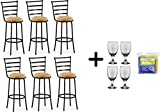 by Mainstay Adjustable-Height Swivel Barstool, Hammered Bronze Finish - (Beige, Adjustable-Height Swivel, Set of 6)