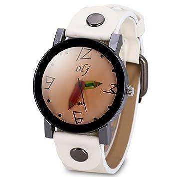 Relojes Hermosos, Mujer Reloj de Moda Reloj creativo único Chino Cuarzo Esfera Grande Piel Banda Cool Negro Blanco (Color : Blanco) : Amazon.es: Deportes y ...