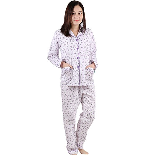 Pajamas set with Purple Flower Printed (XL, White with Purple floral print) ()