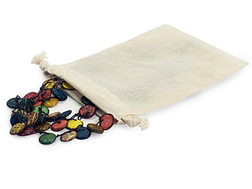 Pack of 12, 5 x 7'' Solid Natural fiber Cotton Bags w/100% cotton cord drawstrings perfect for jewelry, soaps, cosmetics, favors & gift cards