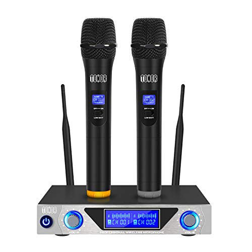 (TONOR VHF Handheld Wireless Microphone System with Dual Hand Held Dynamic Microphones and LED Display for Karaoke Party Classroom Meeting)