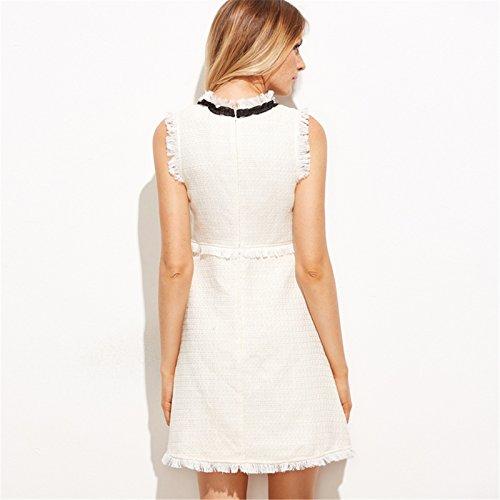 Línea blanco Anudado Minivestido Vestido de A Moda Mini Dress Cuello en en Mangas Detalle Corte Skater Bowknot Lazo Plisado Blanco Borlas Line Sin el Edge de 6484ng7wHq