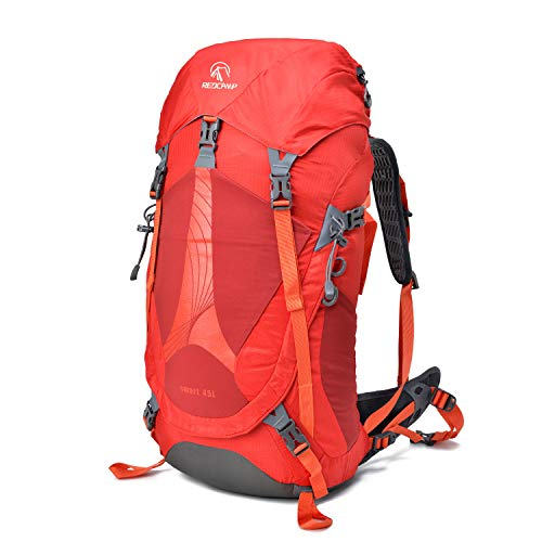 REDCAMP 45L Hiking Backpack Lightweight Internal Frame with Rain Cover, 2.8Lbs High-Performance Waterproof Outdoor Camping Backpack, Red