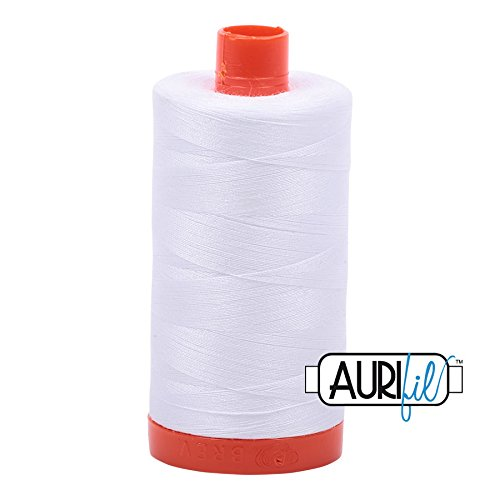 2024 White Aurifil 100 % cotton thread - 50wt - 1300 meter spool