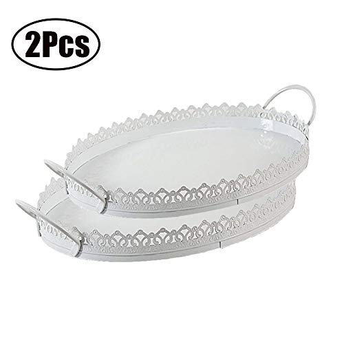 Set of 2 Cupcake Stand with Handle Oval Iron Cookie Fruits Dessert Pastry Display Serving Tray for Baby Shower Wedding Birthday Party Home Decoration White