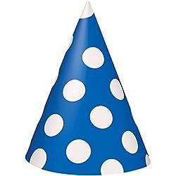 Royal Blue Polka Dot Party Hats, 8ct