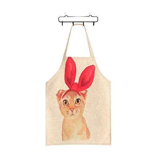 Kourou Aprons for Kids 1Pcs Linen Cute Cat Parent-Child Aprons Funny Kitchen -