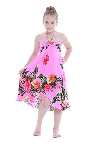 Girl Hawaiian Butterfly Dress in Pink Floral