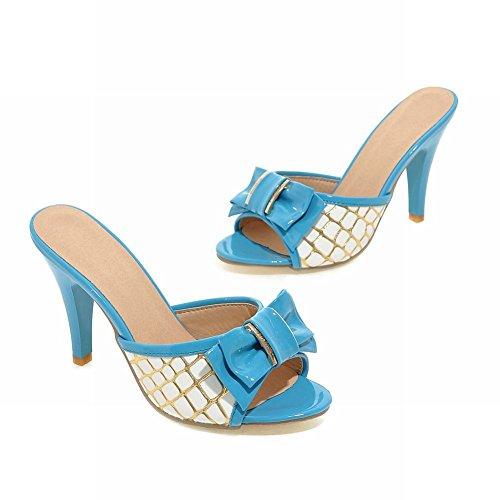 Charm Foot Womens Elegance Bows High Heel Open Toe Slipper Sandalo Blu