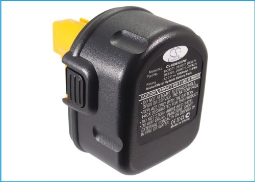 Replacement Battery for DEWALT 2802K, 2812B, 2812K, 2832K, 2852B, 2861K-2, 2872B, 2872K-2, 2872KQ, 2898B, 2898K, DC528 Flash Light, DC540, DC540K, DC542, DC542K, DC612KA, DC614KA, DC727KA, DC727KA-AR