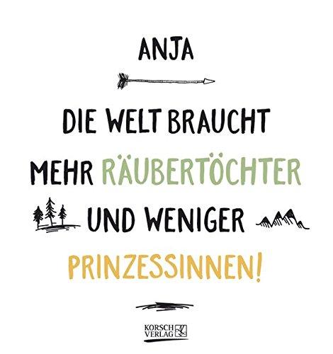 Namenskalender Anja: Ideales Geschenk mit 12 trendigen Typo-Art-Sprüche mit immerwährendem Kalendarium. Wand-Aufstell-Postkarten-Kalender in einem.