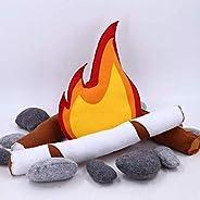 Pretend Campfire for Kids - Sensory Play Camping Toy Set with Plush Felt Fake Fire, Stones,Kids Indoor Felt Pr