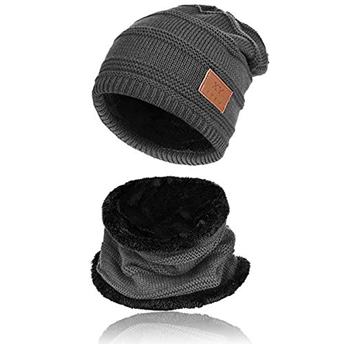 (2-Pieces Mens Beanie Hat Scarf Set Fleece Lined Winter Warm Knit Slouchy Thick Skull Cap for Men)