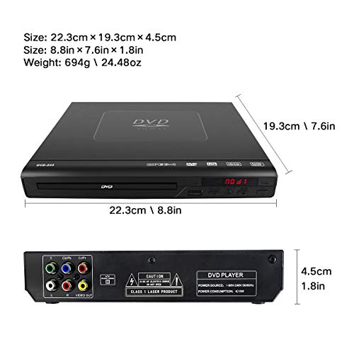 DVD Player for TV - Compact Multi Region DVD / SVCD / CD / Disc Player with Remote Control, Built-in PAL / NTSC System, USB Port Support