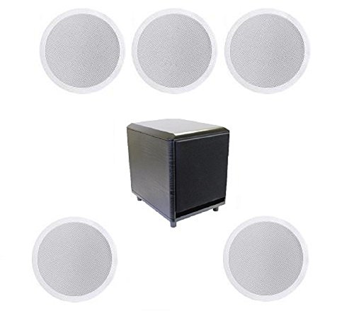 5.1 Home Theater Flush Inwall Speaker Package with Amplified Subwoofer- Five Flush Ceiling 6.5