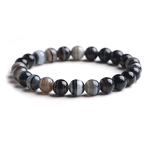 iSTONE Gemstone Bracelets Natural Genuine Gemstones Birthstone Handmade Healing Power Crystal Beads Elastic 7.5 Inch Unisex (8mm, Black Banded Agate)